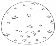 Coloriage oeuf de paques avec stars and moon