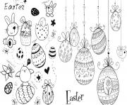 Coloriage easter doodles paques oeufs lapins