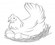 oeuf de poule paques dessin à colorier