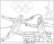 adulte jeux olympiques escrime paris 2024 dessin à colorier