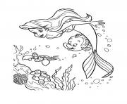 Coloriage les amis de ariel la petite sirene dessin