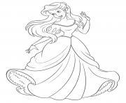 princesse la petite sirene dessin à colorier