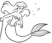 la petite sirene dans la mer dessin à colorier