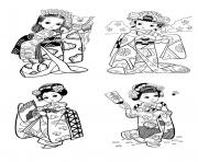 plusieurs tenus tradtionnelles nouvel an chinois dessin à colorier