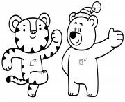 Coloriage Soohorang and Bandabi Black Bear and White Tiger