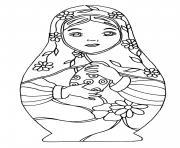 Coloriage best Matryoshka dolls adult Poupee Russe dessin
