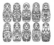best Matryoshka dolls adult Poupee Russe dessin à colorier