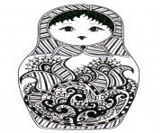 Coloriage adult Matryoshka dolls perspective Poupee Russe dessin
