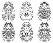 matryoshka Matryoshka folk nesting doll Poupee Russe dessin à colorier