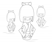 Coloriage kokeshi dolls Poupee Russe