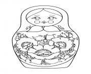Coloriage simple Matryoshka doll Poupee Russe dessin