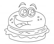 Coloriage dessin burger kawaii