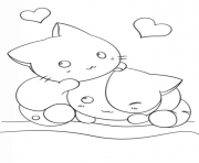 Coloriage dessin kawaii kittens chats