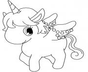 Coloriage dessin licorne cute kawaii