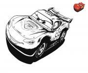 cars 3 flahs mcqueen en pleine vitesse dessin à colorier