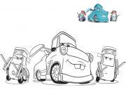 cars 3 guido et ses amis voiture mecanique depanneuse dessin à colorier