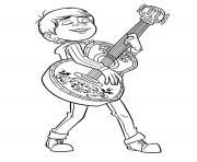 miguel en feu avec sa guitare film coco dessin à colorier