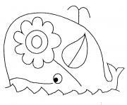 baleine avec une fleur dessin à colorier