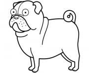 funny pug chien dessin à colorier