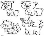 chien ours cheval chat animaux dessin à colorier