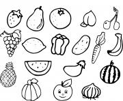 fruits et legumes dessin à colorier
