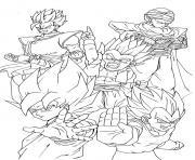 goku vegeta piccolo gohan yamcha dragon ball dessin à colorier