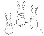 kawaii bunnies dessin à colorier