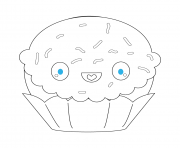 Coloriage kawaii cupcake