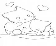 kawaii kittens dessin à colorier