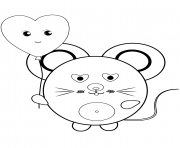 kawaii mouse dessin à colorier