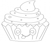 kawaii cupcake with stars dessin à colorier