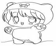 Coloriage kawaii chibi girl