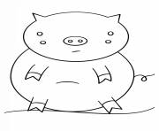 kawaii pig dessin à colorier