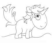 Coloriage kawaii unicorn