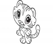 kawaii animaux tigre dessin à colorier