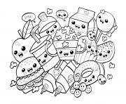 Coloriage kawaii food nourriture