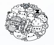 Coloriage kawaii food animal cute