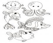animaux marin dessin à colorier