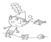 Ben dans la mer Le Petit Royaume de Ben et Holly dessin à colorier
