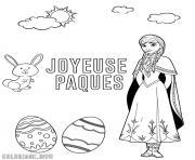 joyeuse paques elsa reine des neiges dessin à colorier