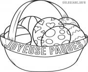 Coloriage panier oeuf de paques happy easter