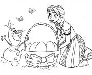 paques a imprimer Elsa et Olaf Reine des Neiges dessin à colorier