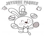 joyeuse paques lapin de paques jongleur oeufs dessin à colorier