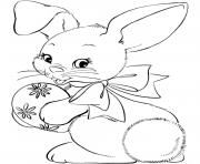 Coloriage lapin bunny avec oeuf paques