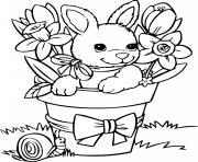 lapin avec un escargot dessin à colorier