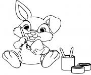lapin peinture des oeufs dessin à colorier