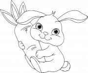 lapin de paques avec carotte dessin à colorier