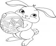 lapin de paques oeufs dessin à colorier