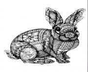 Coloriage lapin adulte zentangle antistress