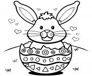 lapin de paques oeufs coeurs dessin à colorier